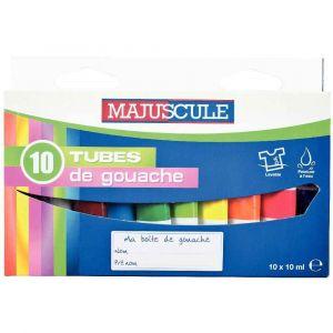 Majuscule Gouache pate assorti - boite de 10 tubes de 10ml