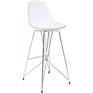 Kare Design Chaise de bar simili cuir blanc WIRE