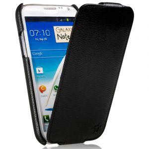Issentiel Housse pour Galaxy Note 2 - Cuir Noir Grainé Collection Prestige