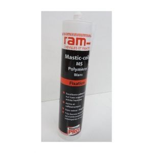 Ram Cartouche de mastic colle polymère blanc 300ml usage interieur / extérieur pour fixation pro 63630