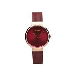 Bering Montre 14531-363 - Boîtier acier doré rose brillant cadran rouge bracelet acier milanais rouge Femme