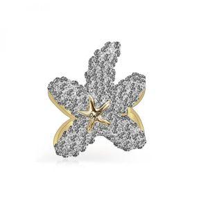 Guess : Bracelet STARFISH UBB78008 - Bracelet Jonc acier doré étoile de mer Cristaux Swarovski Bijoux