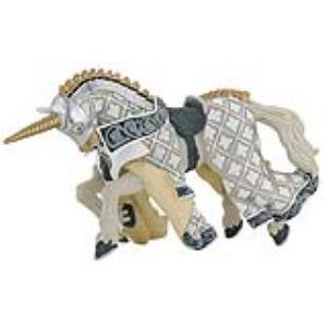 Papo Figurine Cheval du maître des armes cimier licorne argentée