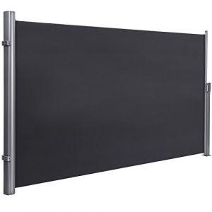 Songmics Store latéral 350 x 180cm Abri soleil Paravent extérieur rétractable brise vue pour terrasse280 g/m² polyester Gris GSA185G