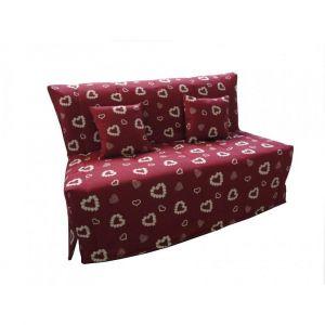 Inside75 Canapé BZ convertible FLO rouge motifs coeurs 160*200cm matelas confort BULTEX inclus