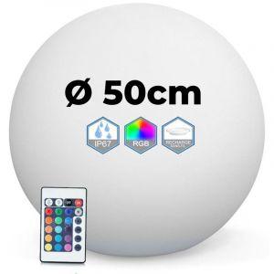 Europalamp Boule Lumineuse LED Multicolore 50CM Sans Fil Fabriqué en Polyéthylène épais