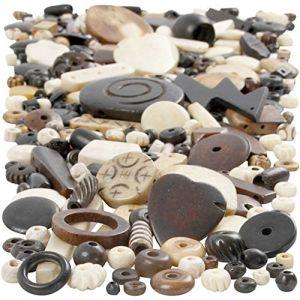 Creotime CC Hobby - Mix de perles en os, dim. 5-30 mm, diamètre intérieur 1-2 m