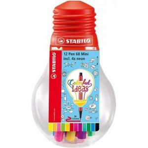 Stabilo Pen 68 Mini - Ampoule Colorful Ideas de 12 feutres pointe moyenne - Coloris assortis