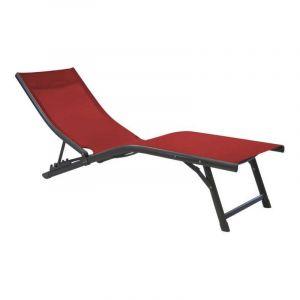 Proloisirs Lot de 2 relax pliants Fuji - TPEP - Gris/rouge