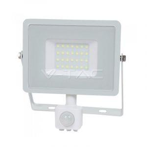 V-TAC 30W avec détecteur de mouvement Projecteur LED de sécurité extérieur étanche avec corps blanc Samsung LED Verre blanc IP65 3000K Blanc chaud 2550 Lumens