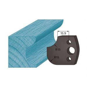 Diamwood Platinum Jeu de 2 contre-fers profilés Ht. 38 x 4 mm congé et quart de rond A177 pour porte-outils de toupie