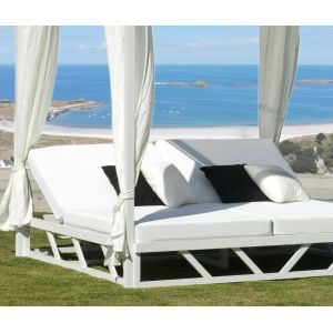 Hévéa Balinaise bain de soleil abalia 210 en aluminium blanc coussins couleur blanc