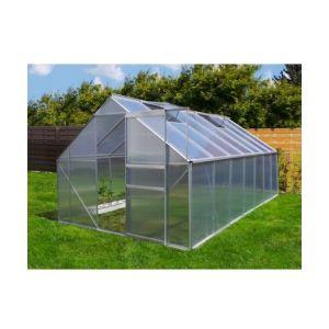 Plantiflex Serre de jardin 10.75 m² en aluminium avec porte et deux fenêtres