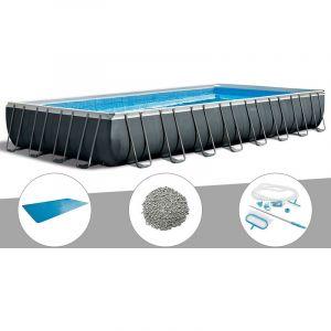 Intex Kit piscine tubulaire Ultra XTR Frame rectangulaire 9,75 x 4,88 x 1,32 m + Bâche à bulles + 20 kg de zéolite + Kit d'entretien