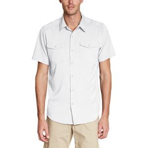Columbia Chemise à Manches Courtes Homme, UTILZER II SOLID SHIRT SLEEVE SHIRT, Polyester, Blanc (White), Taille: XXL, AO9136