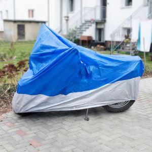 Relaxdays Housse protection Moto Scooter pluie neige poussière 246 x 105 x 127 cm Bâche Protection Cache Couvre moto poussière pluie, bleu et argenté