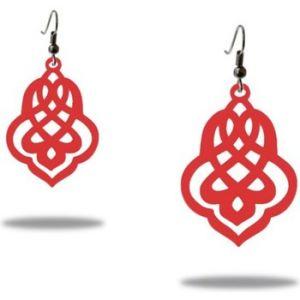 Blue Pearls Boucles d`Oreilles Femme Pendantes à crochets Arabesque Silicone Rouge