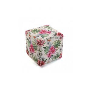 Versa Pouf tabouret motifs floraux multicolores FLORES