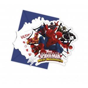 6 cartes d'invitation avec enveloppes Spiderman