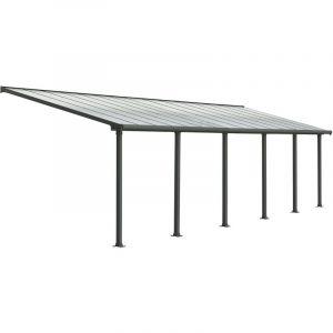 Palram Pergola adossée Olympia 27,5 m² - Aluminium et polycarbonate - Gris