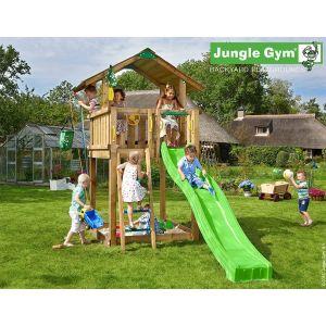Jungle Gym Tappü - Aire de jeux en bois + toboggan - 10 enfants