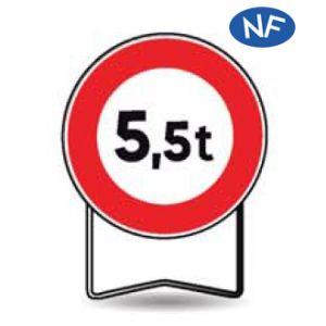 Taliaplast 524411 - Panneau signalisation prescription b13 interdit +5.5t t1 650mm