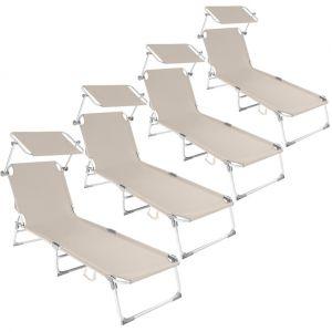 TecTake 4 Chaises longues, Transat, Bain de soleil, Pare Soleil, Pliables Aluminium 190 cm Beige