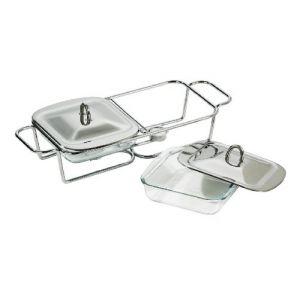 Premier housewares 509631 - Chauffe-plat avec 2 plats en verre