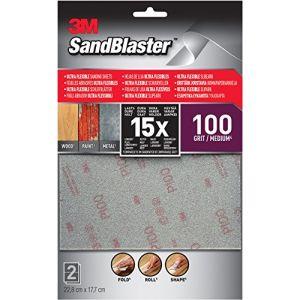 3M Lot de 2 feuilles abrasives SandBlaster Abra Ultraflexible P100