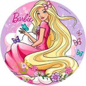 Disque en azyme Barbie avec papillons 20 cm