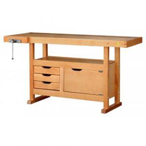 Outifrance Etabli bois 1.5 x 0.5M 3 tiroirs + presse