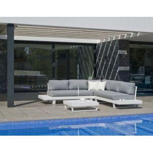 Hévéa Salon de jardin en aluminium canapé d'angle Anastacia Blanc