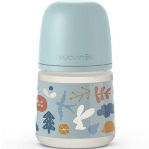 Suavinex Biberon avec tétine symétrique SX PRO S Into the forest bleu poudré (150 ml)