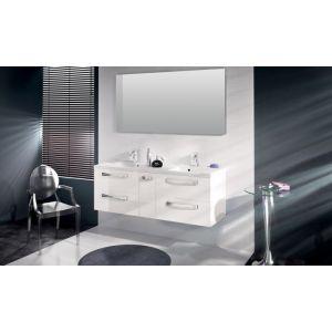 ab824c876 Aquarine Meuble double vasque à suspendre BROOKLYN - Blanc brillant ...