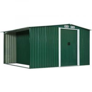 VidaXL Abri de jardin avec portes Vert 329,5x259x178 cm Acier
