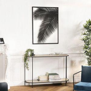 Macabane Décoration murale rectangulaire 74x100cm métal noir feuille palmier