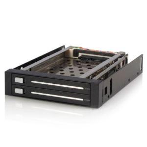 """StarTech.com HSB220SAT25B - Rack Amovible 3.5"""" sans Tiroir pour 2 Disques Durs 2.5"""""""