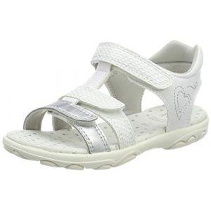 Geox Sandal Cuore J9290B Mixte Enfant Sandales,Sandales,Fille,Garcon Sandales,Chaussures d'été,Sandales d'été,Velcro,T-Fermoir,Blanc,28 EU