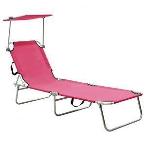 VidaXL Chaise longue pliable avec auvent Acier Rose magento