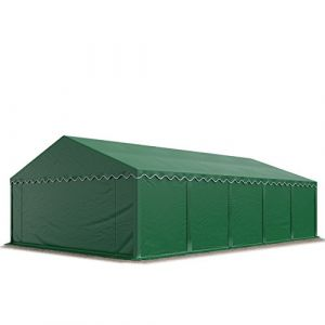 Intent24 Abri / Tente de stockage ECONOMY - 5 x 10 m en vert fonce - toile PVC 500 g/m² imperméable / protection contre les rayons UV (80+) / structure robuste en acier galvanisé.FR
