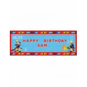 Bannière personnalisable Happy Birthday Sam le Pompier