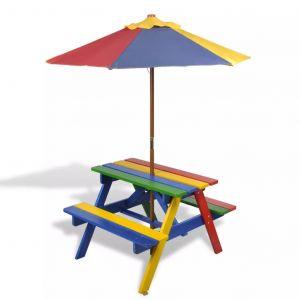 VidaXL Table de Pique-nique pour Enfants en Quatre Couleurs avec Parasol