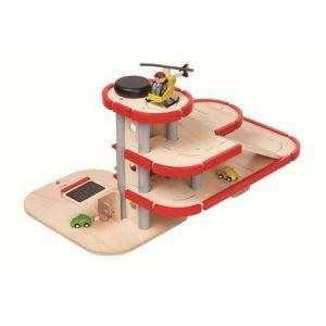 Plan Toys Grand Garage Parking 3 niveaux Petites voitures PlanCity - Jouet en bois