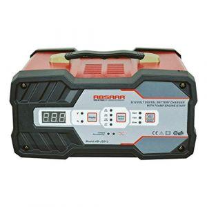 Absaar 0635614 AB-JS012 Chargeur de Batterie avec Aide au démarrage 12A 6/12V, Noir