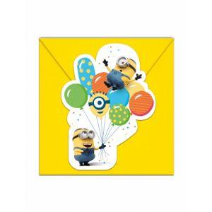 Procos 6 Cartons d'invitation avec enveloppes Minions ballons party Taille Unique