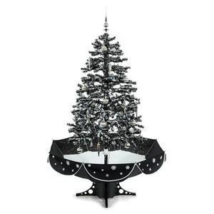 OneConcept Everwhite - Sapin de Noël simulation chute de neige 180 cm LED noir