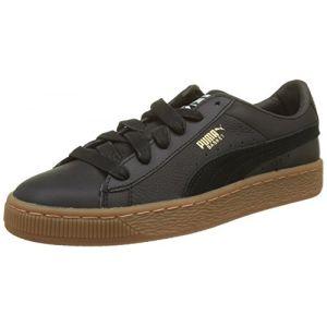 Puma Basket Classic Gum Deluxe Jr, Sneakers Basses Mixte Enfant, Noir Black Black, 38 EU