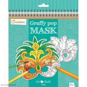 Avenue mandarine GY024O Un carnet de Coloriage masques - Graffy Pop Mask - Rio
