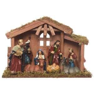 Crèche de Noël Bois et 8 Santons 30 cm