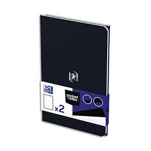 Oxford Pocket Notes agrafé - couverture carte - 9 x 14 cm - 48 pages - ligné 6 mm - bleu roy et noir - lot de 2